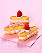 Sponge finger sandwiches with raspberry mousse