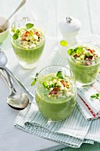 Avocado and watercress soup with bacon and egg