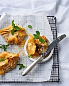 Filo pastry parcels with baby leaf spinach and ricotta