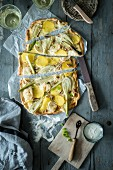 Fennel and potato tarte flambée