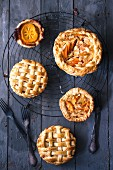Kaki fruit pies with lattice tops
