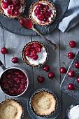 Maraschino cherry tartlets (seen from above)