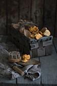 A basket of fresh chanterelle mushrooms