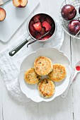 Potato and quark cakes with plum compote