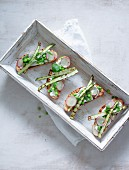 Crostini with asparagus, peas and radish