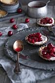 Maraschino cherry tartlets on a plate