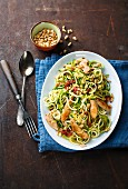 Courgette spaghetti with chicken and dried tomatoes