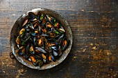 Mussels with parsley on wooden background