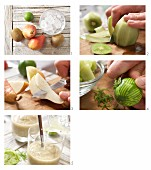 Pear and kiwi smoothie being made