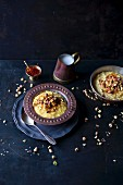 Saffron rice pudding with pistachios