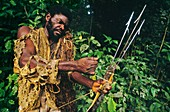 Bushmeat hunter with spears,Congo