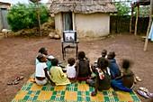 Children watching television,Senegal