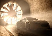 Sports car in wind tunnel,illustration
