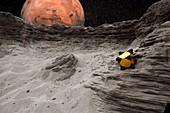 Hedgehog robot on Phobos,illustration
