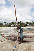 Building a ngalawa boat,Zanzibar