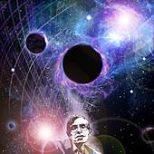Hawking and black holes,illustration