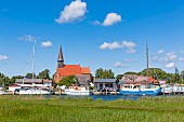 The view of the town of Schaprode on the island of Rügen in the German Baltic Sea