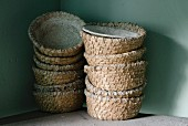 Traditional bread baskets made of rye straw