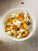 Pappardelle pasta with chanterelle mushrooms sautéed in butter