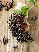 Fresh picked elderberries on wood