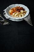 Paprika chicken with dumplings