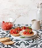 Bruschetta al pomodoro with tomatoes