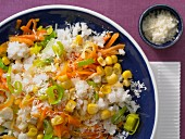 Easy-to-make vegetable risotto with sweetcorn and carrot