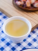 Galician albariño white wine served in a traditional cup (taza)