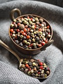 Mixed peppercorns in a copper bowl and on a spoon