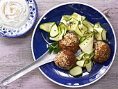 Falafel with a sesame yogurt dip and a courgette salad