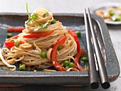 Asian fried noodles with sprouts and egg