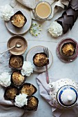 Coffee cake muffins and tea