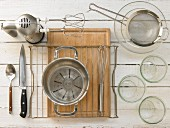 Kitchen utensils for making spice bread in a glass