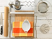 Kitchen utensils for making tomato ciabatta bread