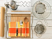 Kitchen utensils for baking ciabatta with yeast and olive oil