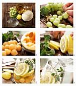 weiße Sangria mit Trauben und Melone zubereiten