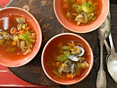 Hot mushroom soup with vegetables and peppers