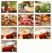 How to make a green salad with a poached egg, sliced ham, a tofu dressing and croutons