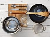 Kitchen utensils for making a potato and salmon dish