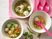 Children's minestrone with meatballs and vegetables