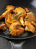 Chanterelle mushrooms pan-fried in butter