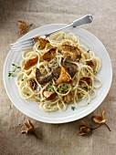 Spaghetti with wild mushrooms and Parmesan