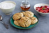 Scones with ricotta, honey, strawberries and tarragon