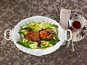 Roast quail with pak choi