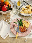 Barbary duck breast with roast potatoes for Christmas