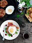 Burgers with bacon and fried egg