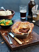 A slow-cooked beef pie, cut open