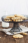 Chocolate chip cookies on a wire stand