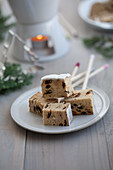 Stollen cubes on skewers for fondue
