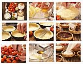 Erdbeer-Tartelettes mit Ricottacreme und Pistazien zubereiten
